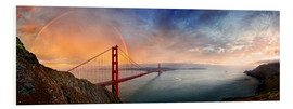 Hartschaumbild  San Francisco Golden Gate mit Regenbogen - Michael Rucker