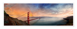 Premium-Poster  San Francisco Golden Gate mit Regenbogen - Michael Rucker