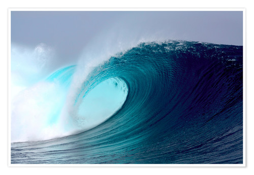 Premium-Poster Tropical blauen Welle surfen