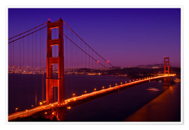 Premium-Poster Golden Gate Bridge bei Nacht