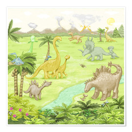 Premium-Poster  Dinosaurier-Landschaft - Fluffy Feelings