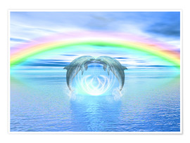 Poster  Dolphins Rainbow Healing - Dolphins DreamDesign