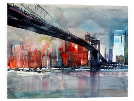 Hartschaumbild  New York, Brooklyn Bridge IV - Johann Pickl