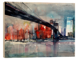Holzbild  New York, Brooklyn Bridge IV - Johann Pickl