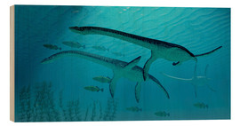 Holzbild  Three Plesiosaurus dinosaurs migrate with a school of fish. - Corey Ford