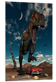 Hartschaumbild  A Tyrannosaurus Rex about to crush a Cadillac with his feet. - Mark Stevenson