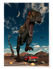 Premium-Poster A Tyrannosaurus Rex about to crush a Cadillac with his feet.