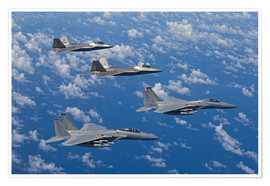 Premium-Poster  Zwei F-15 Eagles und F-22 - HIGH-G Productions
