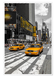 Poster Yellow Cabs Cruisin auf dem Time Square 2
