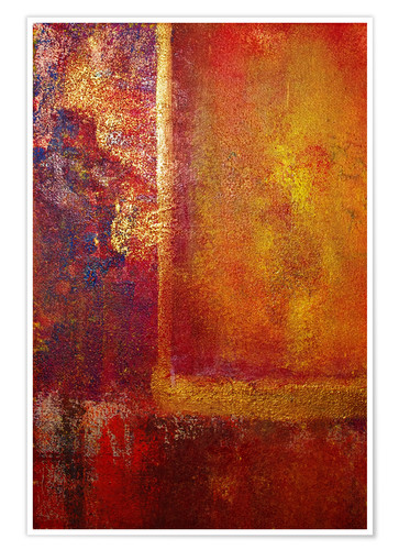 Premium-Poster Color Fields 'Red Orange Yellow Gold'