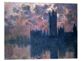 Hartschaumbild  Houses of Parliament, Sonnenuntergang - Claude Monet