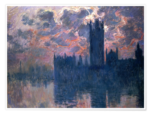 Premium-Poster Houses of Parliament, Sonnenuntergang