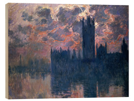 Holzbild  Houses of Parliament, Sonnenuntergang - Claude Monet