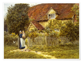 Premium-Poster  Mutter und Kind am Landhaus - Helen Allingham