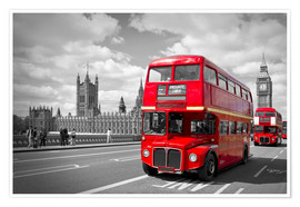 Premium-Poster Westminster Bridge and Red Buses