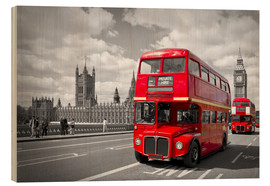 Holzbild  Westminster Bridge and Red Buses - Melanie Viola