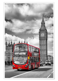 Premium-Poster  Big Ben and Red Bus - Melanie Viola