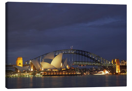 Leinwandbild  Oper von Sydney und Harbour Bridge - David Wall