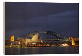 Holzbild  Sydney Oper und Harbour Bridge - David Wall