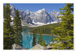 Premium-Poster  Moraine Lake vor Bergen - Paul Thompson