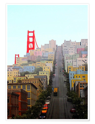 Premium-Poster San Francisco und Golden Gate Bridge