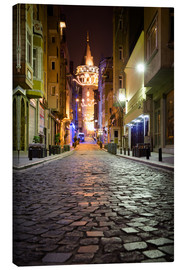 Leinwandbild  The famous Galata-Tower at night (Istanbul/Turkey) - gn fotografie