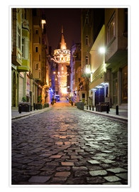 Premium-Poster The famous Galata-Tower at night (Istanbul/Turkey)
