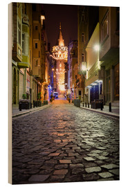 Holzbild  The famous Galata-Tower at night (Istanbul/Turkey) - gn fotografie