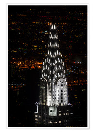 Premium-Poster  Chrysler Building New York City by Night - Michael Haußmann