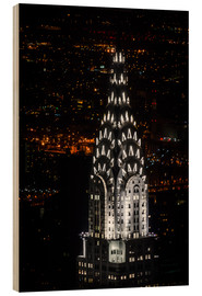 Holzbild  Chrysler Building New York City by Night - Michael Haußmann