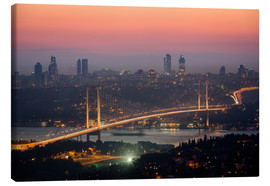Leinwandbild  Bosporus-Bridge at Night (Istanbul / Turkey) - gn fotografie