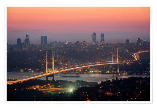 Premium-Poster Bosporus-Bridge at Night (Istanbul / Turkey)