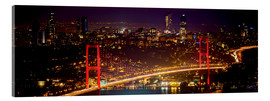 Acrylglasbild  Bosporus-Bridge at night - red (Istanbul / Turkey) Bosporus Brücke bei Nacht rot - gn fotografie