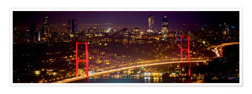 Premium-Poster Bosporus-Bridge at night - red (Istanbul / Turkey) Bosporus Brücke bei Nacht rot