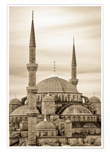 Premium-Poster the blue mosque in sepia (Istanbul - Turkey)
