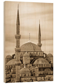 Holzbild  the blue mosque in sepia (Istanbul - Turkey) - gn fotografie