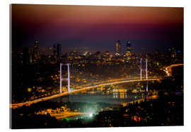 Acrylglasbild  Bosporus-Bridge at night - pink (Istanbul / Turkey) - gn fotografie