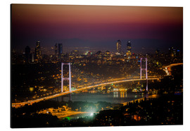 Alubild  Bosporus-Bridge at night - pink (Istanbul / Turkey) - gn fotografie
