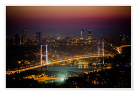 Premium-Poster Bosporus-Bridge at night - pink (Istanbul / Turkey)