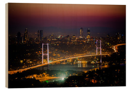 Holzbild  Bosporus-Bridge at night - pink (Istanbul / Turkey) - gn fotografie