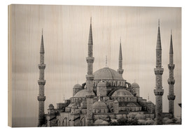Holzbild  the blue mosque in Istanbul / Turkey - gn fotografie