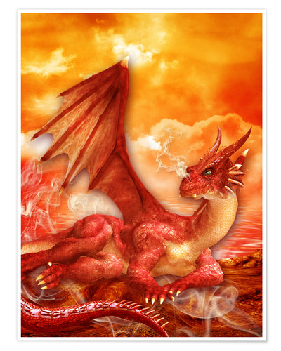 Premium-Poster Roter Power Drache