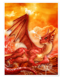 Premium-Poster  Roter Power Drache - Dolphins DreamDesign