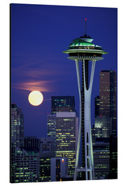 Alubild  Space Needle bei Vollmond - William Sutton