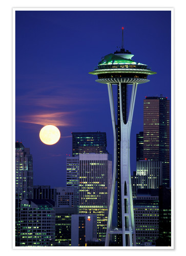 Premium-Poster Space Needle bei Vollmond