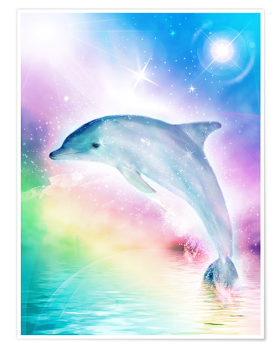dolphins dreamdesign regenbogen delfin poster online bestellen posterlounge. Black Bedroom Furniture Sets. Home Design Ideas