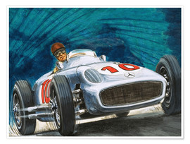 English School - Juan Manuel Fangio driving a Mercedes-Benz