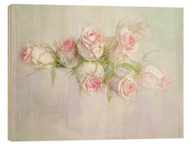 Holzbild  pretty pink roses - Lizzy Pe