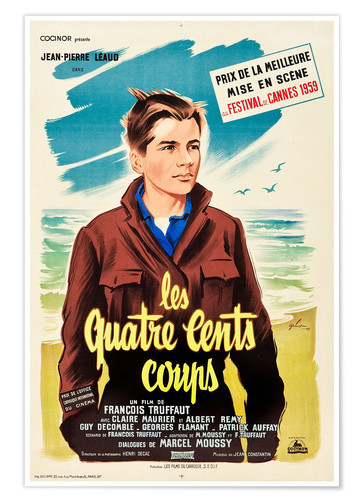 Premium-Poster THE 400 BLOWS (aka THE FOUR HUNDRED BLOWS aka LES QUATRE CENTS COUPS), Jean-Pierre Leaud on French 1