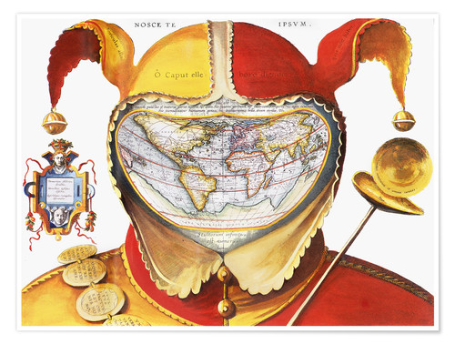 Premium-Poster Fool's Cap World Map, C1590.